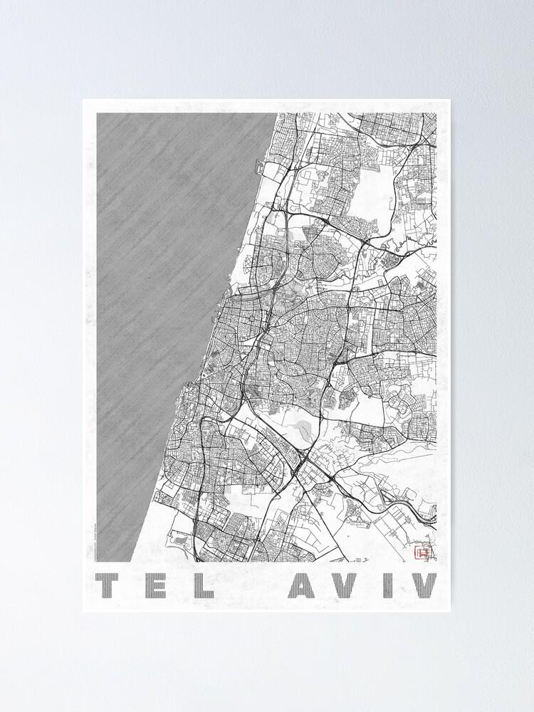Alternate view of Tel Aviv Map Line Poster