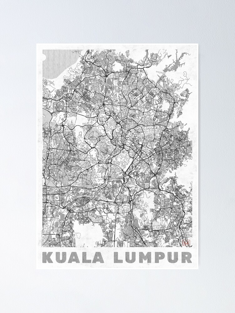 Alternate view of Kuala Lumpur Map Line Poster