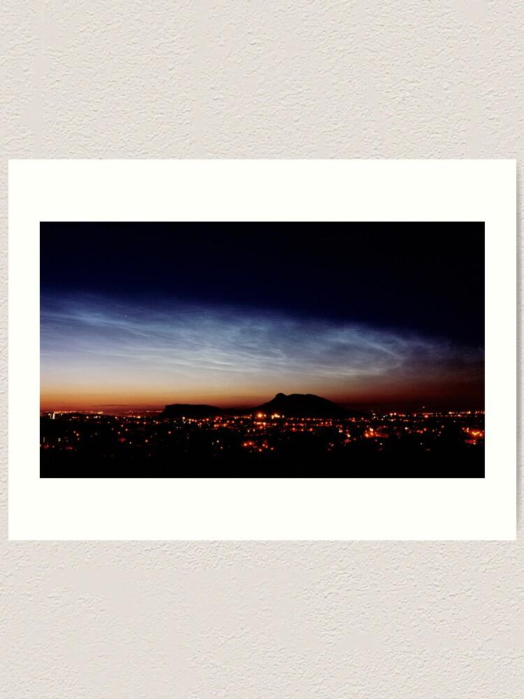 Alternate view of Noctilucent cloud over Arthur's Seat Art Print