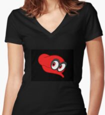 Super Mario Odyssey-Mario's Hat Women's Fitted V-Neck T-Shirt