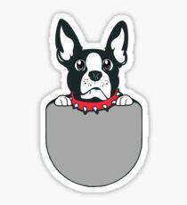 Boston Terrier Puppy Pocket Sticker