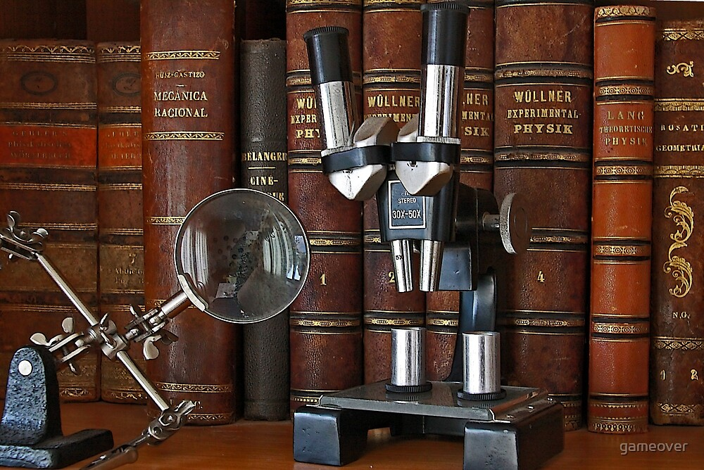 Antique scientific books on a shelf with microscope by gameover