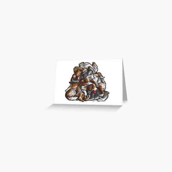 Sleeping pile of English Springer Spaniels Greeting Card