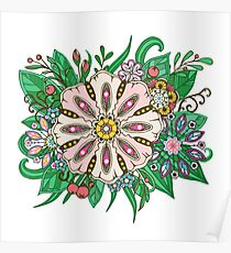 flowers and leaf doodle elements Poster