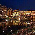 Impressions Of Florence - Ponte Vecchio Evening by Georgia Mizuleva