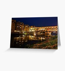 Impressions Of Florence - Ponte Vecchio Evening Greeting Card