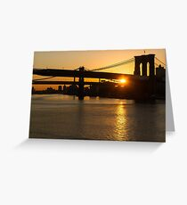 New York City Magic - Iconic Brooklyn Bridge Sunrise Greeting Card