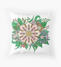 flowers and leaf doodle elements Throw Pillow