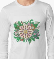 flowers and leaf doodle elements Long Sleeve T-Shirt