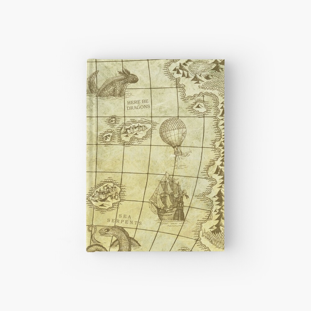 Sea Monsters Map Hardcover Journal