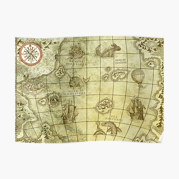 Sea Monsters Map Poster