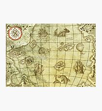 Sea Monsters Map Photographic Print