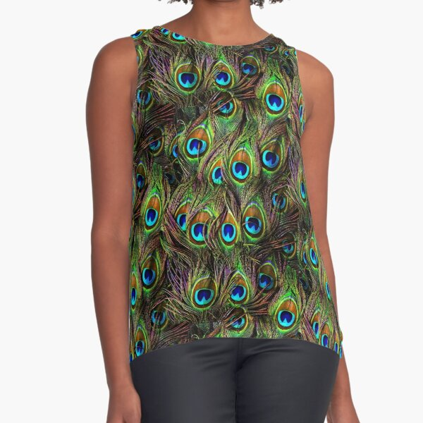 Peacock Feathers Invasion Sleeveless Top