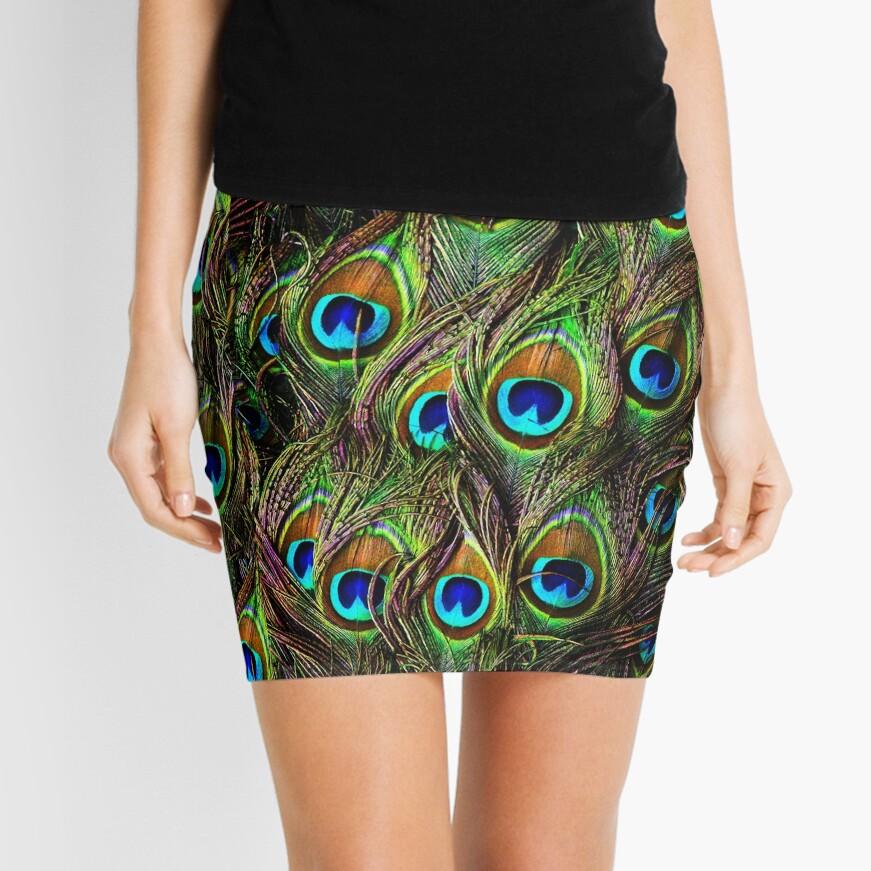 Peacock Feathers Invasion Mini Skirt