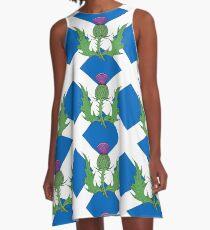 Scottish Thistle & Saltire A-Line Dress