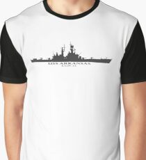 USS Arkansas CGN-41 Silhouette in gray Graphic T-Shirt