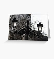 Intricate Ironwork Streetlights - Black and White Retro Chic with Crowns Greeting Card