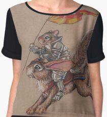 Squirrel in Shining Armor with trusted Bunny Steed  Chiffon Top