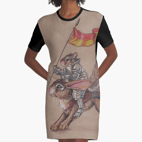 Squirrel in Shining Armor with trusted Bunny Steed  Graphic T-Shirt Dress