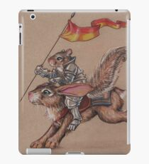 Squirrel in Shining Armor with trusted Bunny Steed  iPad Case/Skin