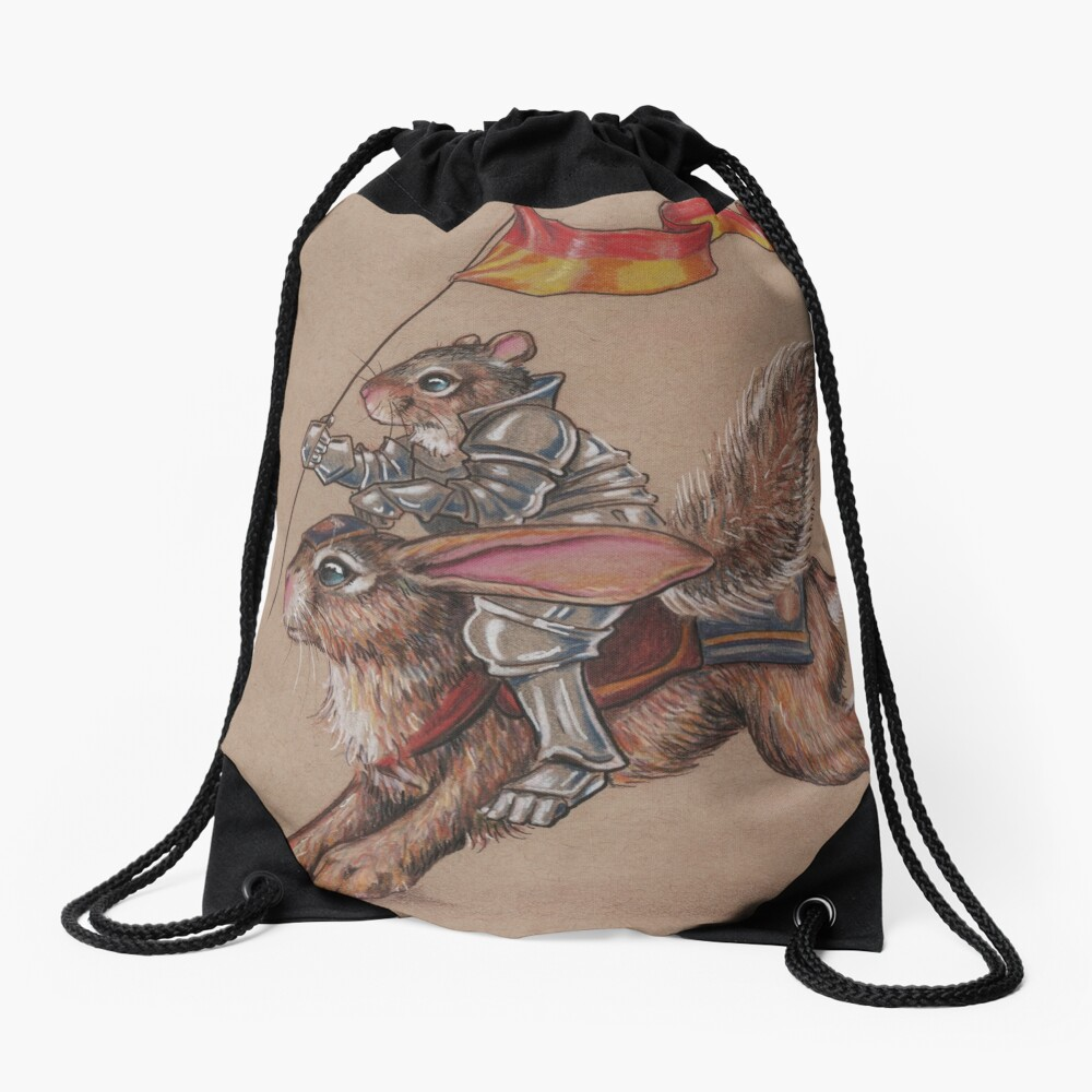 Squirrel in Shining Armor with trusted Bunny Steed  Drawstring Bag