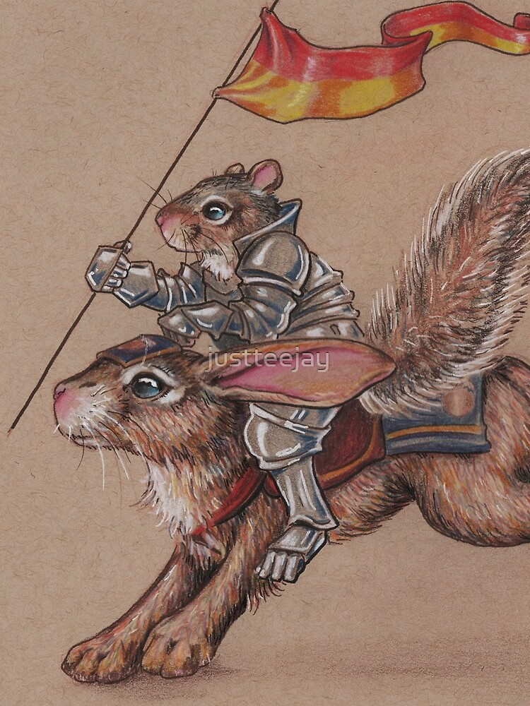 Squirrel in Shining Armor with trusted Bunny Steed  by justteejay