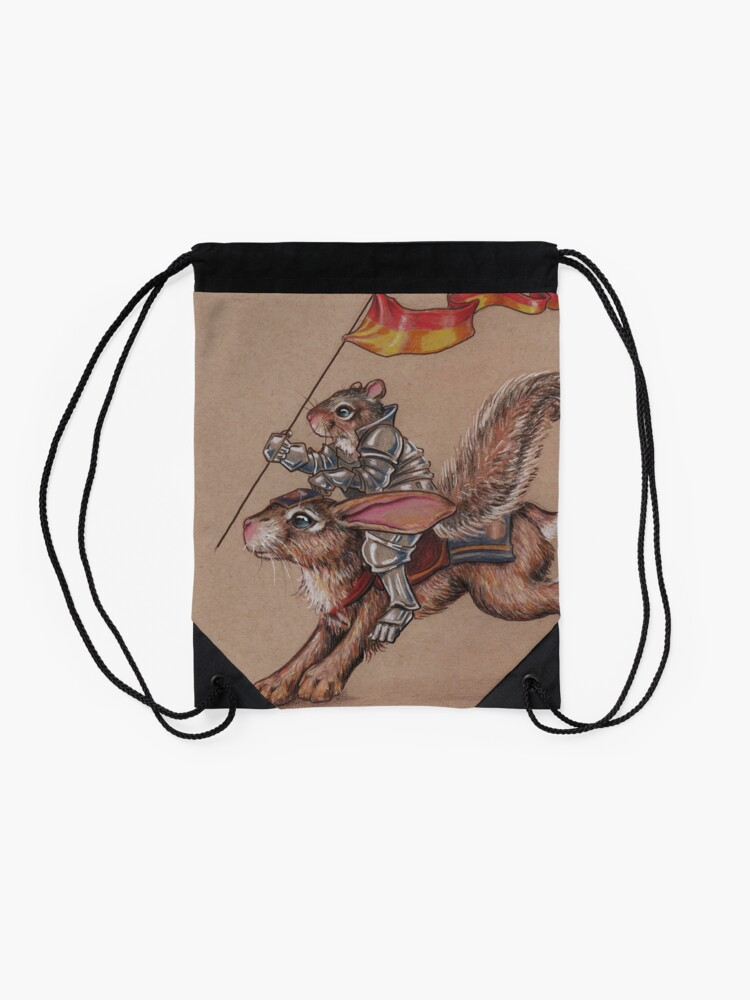 Alternate view of Squirrel in Shining Armor with trusted Bunny Steed  Drawstring Bag