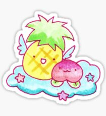 Pineapple and Peach Fruit Angels Sticker