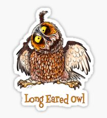 """Adorable and Daft """"Long Eared Owl"""" Sticker"""