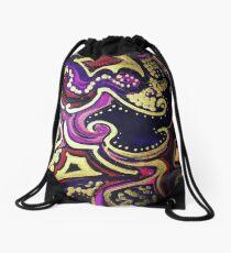 Purple, Golden Patterned Prints Drawstring Bag