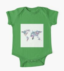 Watercolor Floral World Map One Piece - Short Sleeve