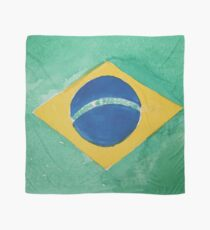 Brazil National Flag in Water Colors Green, Blue and Yellow Scarf