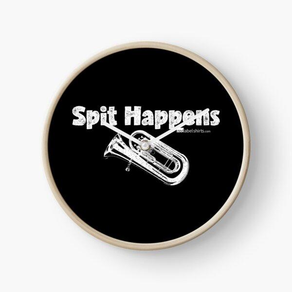 Spit Happens - Baritone (White Lettering) Clock