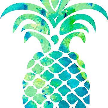 Blue Watercolor Pineapple by lawjfree