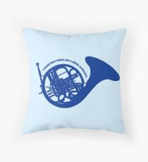 THE BLUE FRENCH HORN Throw Pillow