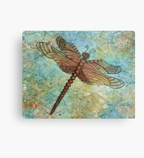Watercolor Zentangled Dragonfly  Metal Print