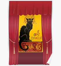Le Chat D'Amour with Theatrical Curtain Border Poster