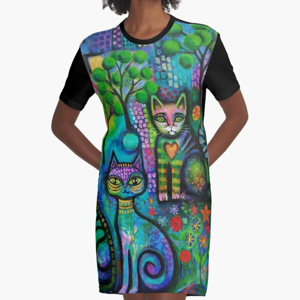 Metropolitan cats Graphic T-Shirt Dress