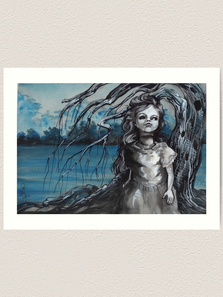 Alternate view of old doll with weeping willow,watercolor and ink painting, creepy doll art, goth, dark Art Print