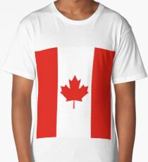 Red and White Canadian Flag Long T-Shirt