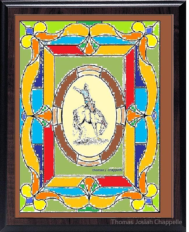 Bronco Cowboy in stained glass by Thomas Josiah Chappelle
