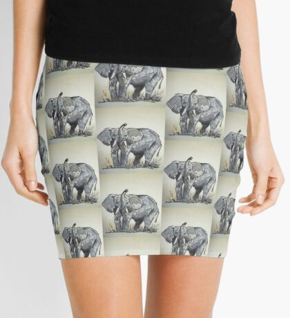 Lodge décor - African Elephant sketch Mini Skirt