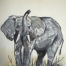 Lodge décor - African Elephant sketch by Maree Clarkson