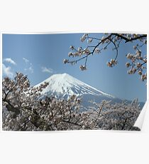 Mount Fuji with blossom Poster