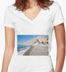 Santorini Vlichada beach, blue sky and sea Women's Fitted V-Neck T-Shirt