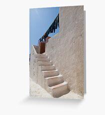 Unique Santorini architecture, beautiful buildings Greeting Card