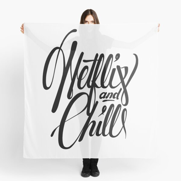 Netflix & Chill - black and white Scarf