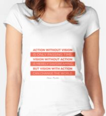Action Without Vision // Nelson Mandela Women's Fitted Scoop T-Shirt