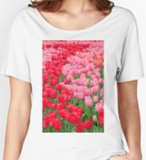 Flower beds of red and pink tulips Women's Relaxed Fit T-Shirt
