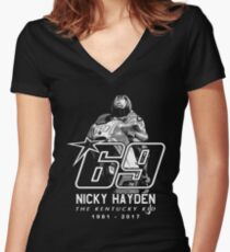 Tribute Nicky Hayden  Women's Fitted V-Neck T-Shirt